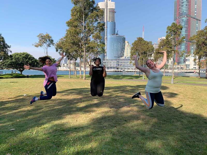 Girls group fitness session in Pyrmont, Sydney